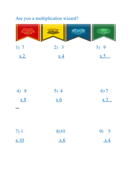 Harry Potter Multiplication Review