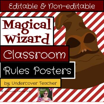 Magical Wizard Rules & Procedure Posters {Editable} (13 Di