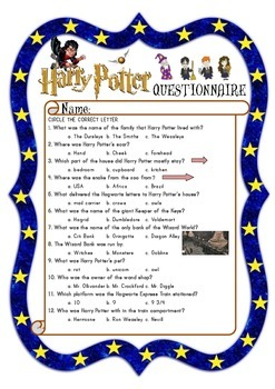 Harry Potter and the Sorcerer's Stone Worksheets