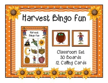 Harvest Fall Bingo Classroom Party Game & 30 Unique Boards