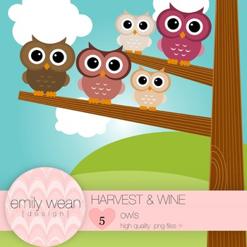 Harvest and Wine - Owl Clip Art