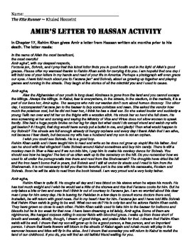 Hassan's Letter to Amir Writing Activity