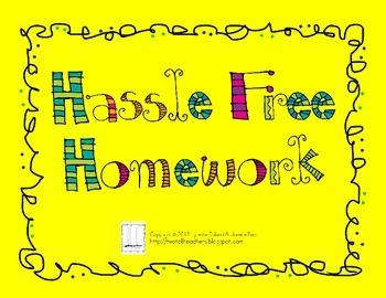 Hassle Free Homework - Kindergarten Student Choice Homework Grid
