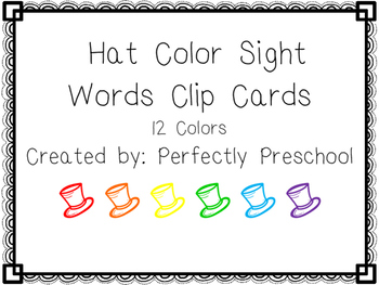 Hat Color Sight Word Clip Cards