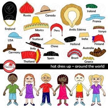 Hat Dress Up - Around the World Clipart by Poppydreamz