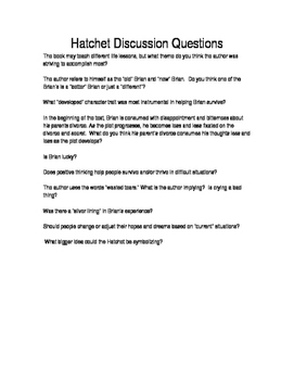 Hatchet Discussion Questions