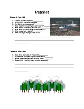 Hatchet Guided Reading Chapter 1 and 2
