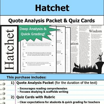 Hatchet - Quote Analysis & Reading Quizzes