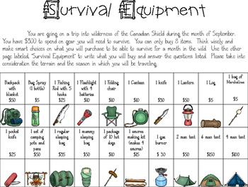 Hatchet Survival Equipment Questionnaire