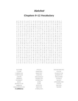 Hatchet Vocabulary Word Search for Chapters 9-12