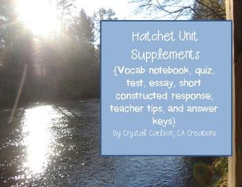 Hatchet Novel Resource Guide {Quiz, Test, Essay, Vocab, Ac