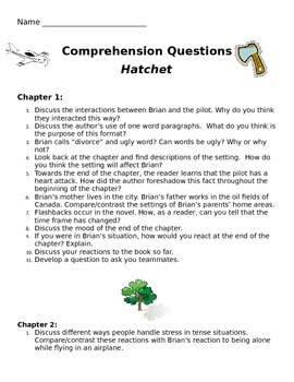 Hatchet by Gray Paulsen Comprehension Questions (Common Co