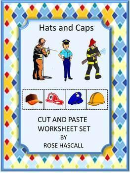 Hats and Caps Sorting Cut and Paste NO PREP Math Printable