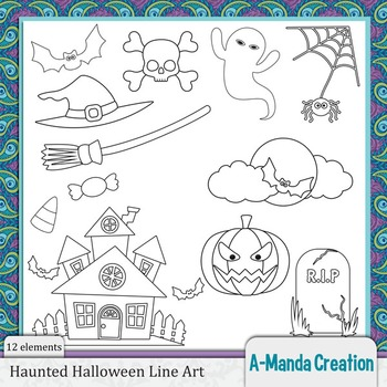 Haunted Halloween Line Art and Digital Stamps
