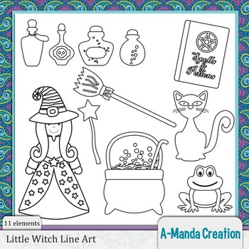 Little Witch Halloween Line Art and Digital Stamps