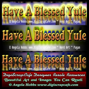 Have A Blessed Yule Pagan Word Art Template PSD Transparen
