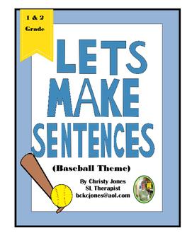 Sentence Construction - 1st Grade-  A Baseball Themed Activity