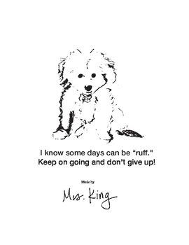 "Having a ""Ruff"" day. Dog Encouragement Card Teacher Note t"