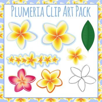Hawaiian Flowers - Plumeria or Frangipani Clip Art Pack