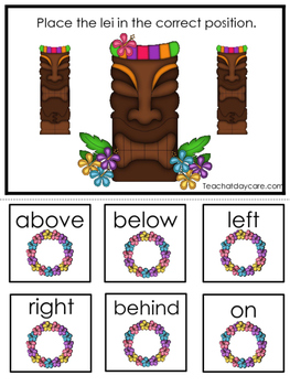 Hawaiian Luau themed Positional Game.  Printable Preschool