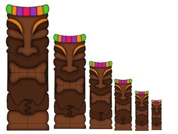 Hawaiian Lu'au themed Size Sequence math activity.  Presch