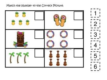Hawaiian Lu'au themed preschool educational game.  Match t