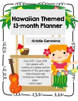 Hawaiian Themed Calendar/ Planner 2017-18