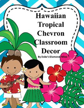 Hawaiian~Tropical blue chevron classroom, decor
