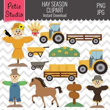 Hay Season Clipart // Farm Clipart // Tractor Clipart - Fall120