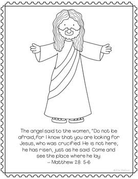 He is Risen, Jesus is Alive Coloring Page or Poster, Bible