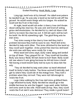Head, Body, Legs: A Story From Liberia, Guided Reading Sheet
