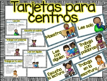 Headers and Posters for Literacy Centers in Spanish