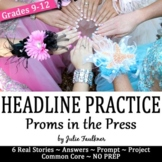 Headline Writing Practice for Yearbook or Newspaper, Prom