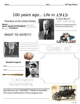 Headlines & Highlights of 1915 (100 years)