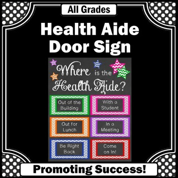 Health Aide Office Door Sign Nursing Gift Idea Printable Poster