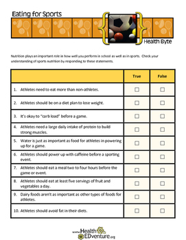 Teens and Life Skills:  Eating for Sports