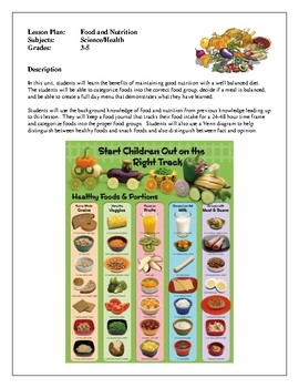 Health Lesson Plans - Food and Nutrition, How to Maintain