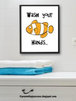 Bathroom Sign Fish Ocean Theme Wash Your Hands Health Hygi