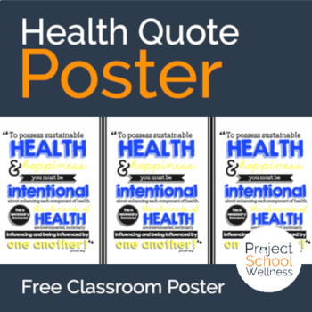Health Quote Poster // Classroom Poster // Classroom Decor