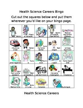 Health Science Career Cluster Bingo