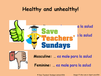 Healthy & Unhealthy and Gender agreement in Spanish Lesson