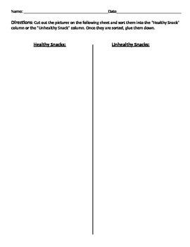 Healthy vs Unhealthy Snacks Sort