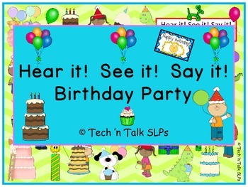 Hear it!   See it!   Say It!   Birthday Party Seek and Find