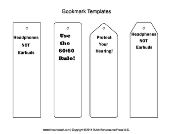 Hearing Loss Prevention Bookmarks