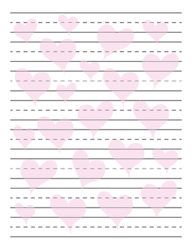 Heart Background Primary Lined Paper