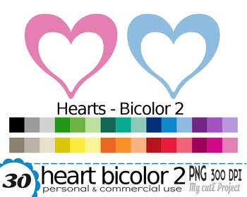 Heart Bicolor White | Clipart | 30 png files | Scrapbookin
