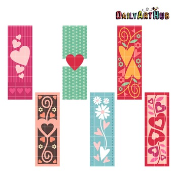 Heart Bookmarks Clip Art - Great for Art Class Projects!