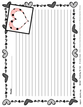 Heart Bordered Free Writing Paper