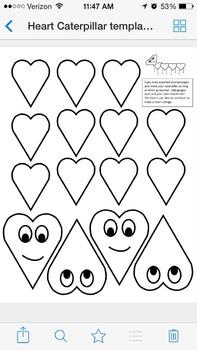 Heart Caterpillar template