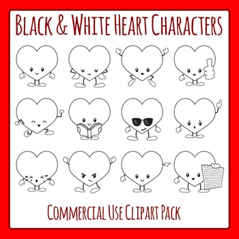 Heart Characters in Black and White - Valentines Day Comme